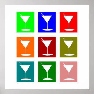 Bunte Retro Cocktailgläser Poster