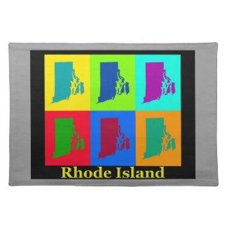 Bunte Rhode Island Pop-Kunst-Karte Stofftischset