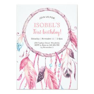 Bunte rosa Traumfänger-Geburtstags-Einladung Karte