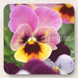 Bunte rosa und gelbe Pansy-Blume Getränkeuntersetzer