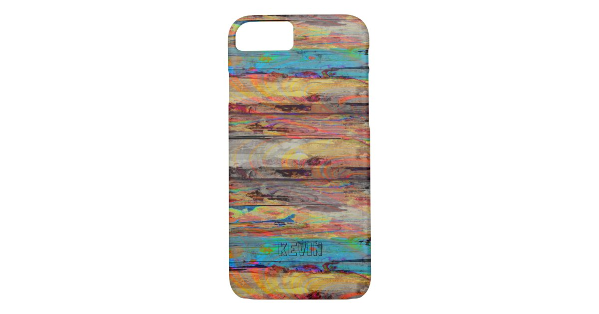 bunte rustikale maler holz bretter iphone 7 h lle zazzle. Black Bedroom Furniture Sets. Home Design Ideas