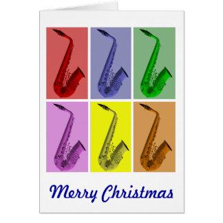 Bunte Saxophon-frohe Weihnacht-Karte Karte