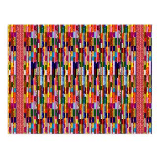 Bunte Schablone der Streifen-DIY addieren Postkarte