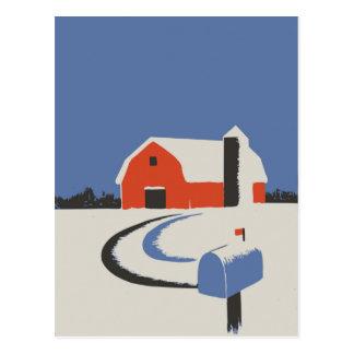 Bunte Scheunen-und Silo-friedliche Winter-Szene Postkarte