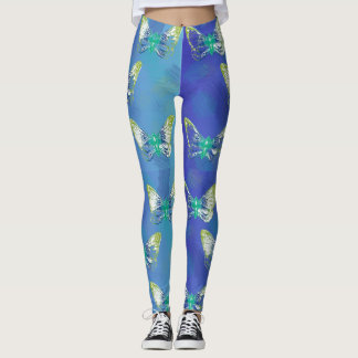 Bunte Schmetterlings-Briefmarken-Kunst-Gamaschen Leggings