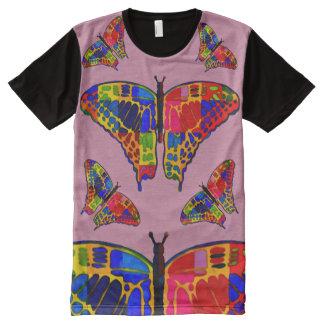 Bunte Schmetterlings-Gouache-Kunst T-Shirt Mit Komplett Bedruckbarer Vorderseite