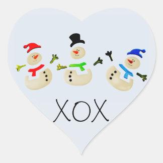 Bunte Schneemann-Weihnachtsparade Herz-Aufkleber