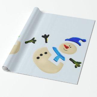 Bunte Schneemann-Weihnachtsparade Einpackpapier