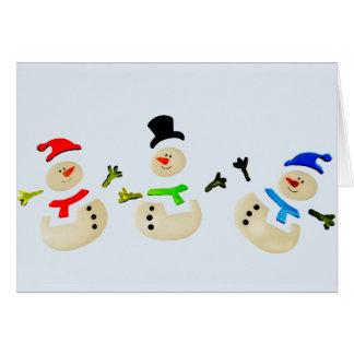 Bunte Schneemann-Weihnachtsparade Grußkarte
