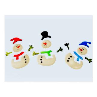 Bunte Schneemann-Weihnachtsparade Postkarte