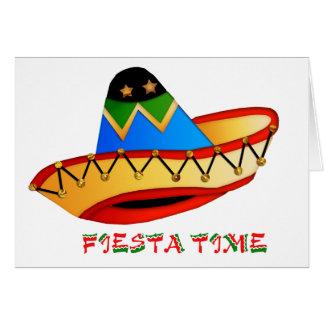 Bunte Sombrero-Fiesta-Zeit Karte