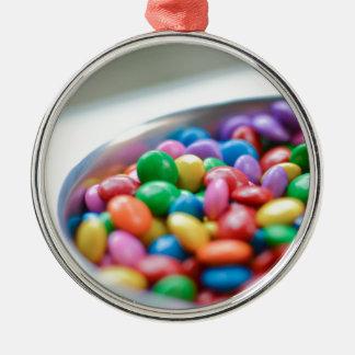 bunte Süßigkeit Silbernes Ornament