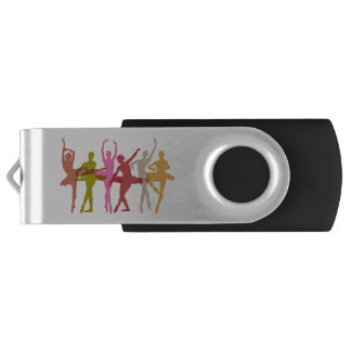 Bunte Tanzen-Ballerinen Swivel USB Stick 3.0