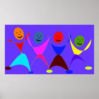 Bunte Tanzen-Zahlen drucken auf Leinwand 3 1/2 ft Poster