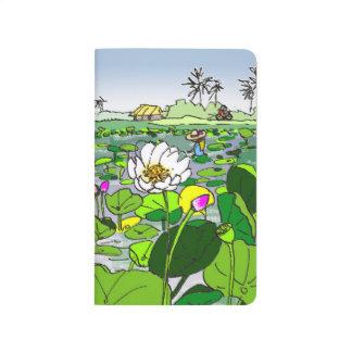 Bunte Taschennotizbuch Lotus-Felder