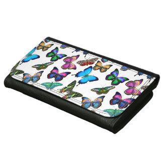 Bunte tropische Schmetterlings-lederne Geldbörse