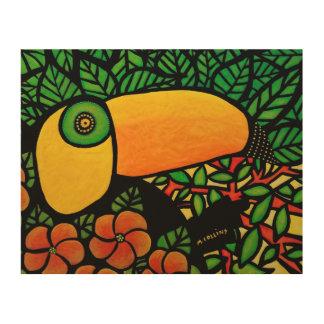 Bunte tropische Toucan Vorlagen-Kunst Holzdruck