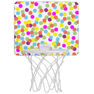 Bunte Tupfen auf einem weißen Hintergrund Mini Basketball Netz