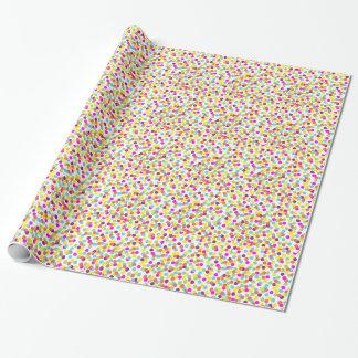 Bunte Tupfen auf weißem Packpapier