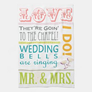 Bunte Typografie-Hochzeits-Geschirrtücher Geschirrtuch