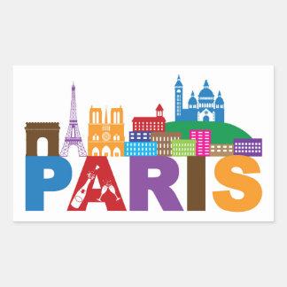 Bunte Typografie Paris, Frankreich   Rechteckiger Aufkleber