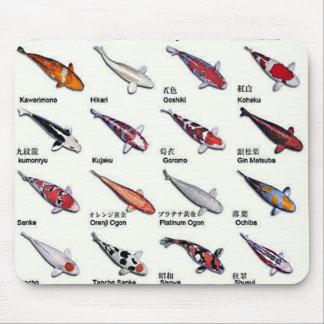Bunte Vielzahl von Koi Fischen, die Muster Mousepads