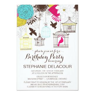 Bunte Vintage Birdcages-Geburtstags-Einladung 12,7 X 17,8 Cm Einladungskarte