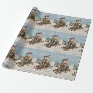 Bunte Vintage Gnomes auf einem Geschenkpapier