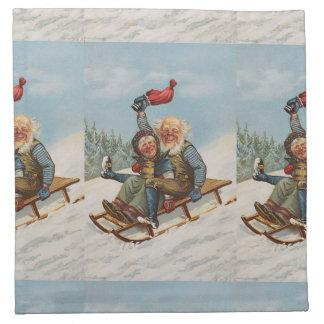 Bunte Vintage Gnomes auf einem Sleigh Serviette