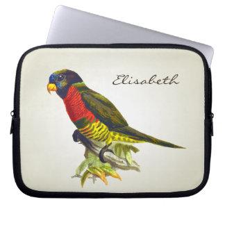 Bunte Vintage Papageienillustration Laptop Sleeve