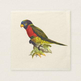 Bunte Vintage Papageienillustration Serviette
