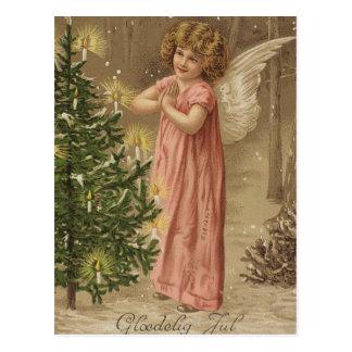 Bunte Vintage rosa Weihnachtsengelskarte Postkarten
