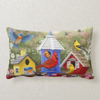Bunte Vögel und Birdhouses Lendenkissen