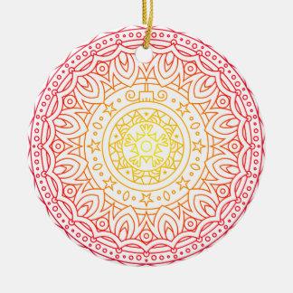 Bunte warme FarbMandala-Kreis-Verzierung Keramik Ornament