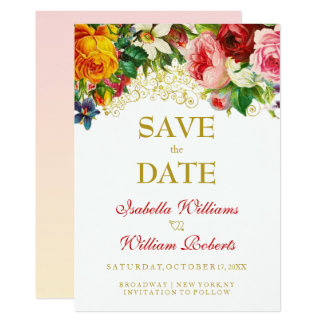 Bunte Watercolor-Blumen, die Save the Date Wedding Karte