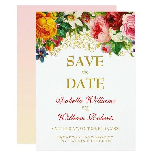 Bunte Watercolor-Blumen, die Save the Date Wedding Karte