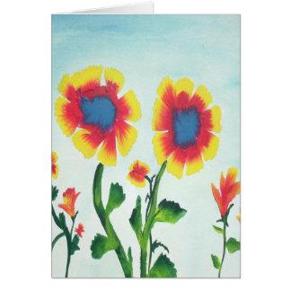 Bunte Watercolor-Blumen Grußkarte