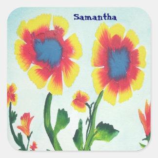 Bunte Watercolor-Blumen - personifizieren Sie Quadrataufkleber