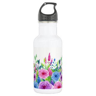 Bunte Watercolor-Frühlings-Blumen Trinkflasche