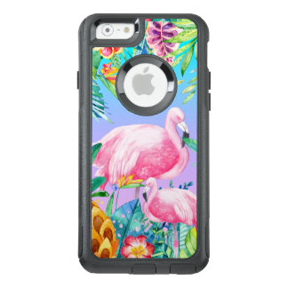 Bunte Watercolors-tropische Blumen u. Flamingos OtterBox iPhone 6/6s Hülle