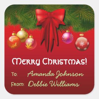 Bunte Weihnachtsbaum-Dekorationen Quadratischer Aufkleber