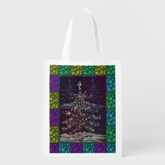 Bunte Weihnachtsbaum-Geschenk-Tasche Wiederverwendbare Einkaufstasche