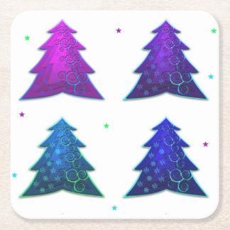 Bunte Weihnachtsbaum-PapierUntersetzer Rechteckiger Pappuntersetzer