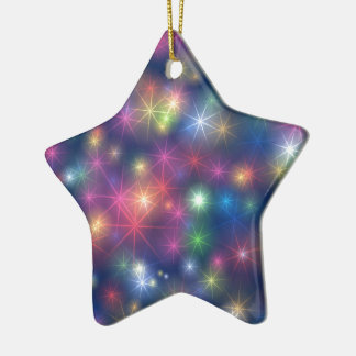 Bunte WeihnachtsParty-Glitter-Sterne Keramik Ornament