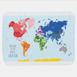 Bunte Weltkarte-Baby-Decke Babydecke