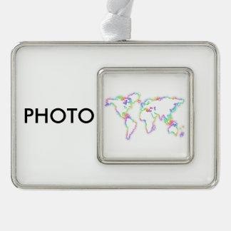 Bunte Weltkarte Rahmen-Ornament Silber