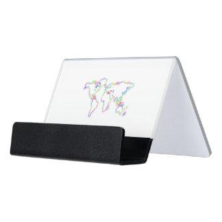 Bunte Weltkarte Schreibtisch-Visitenkartenhalter