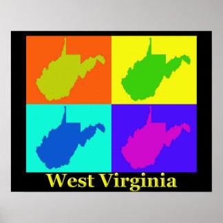 Bunte West- VirginiaPop-Kunst-Karte Poster