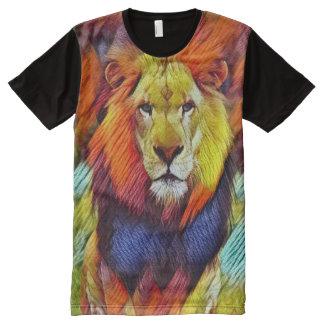 Bunte wilde Löwe-Beschaffenheits-Kunst T-Shirt Mit Bedruckbarer Vorderseite