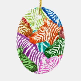Bunte Zebra-Herden-Collage Keramik Ornament